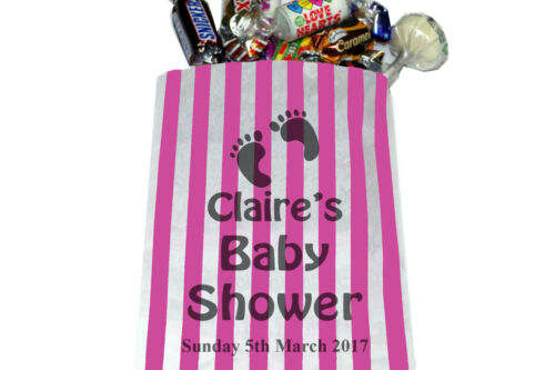 Candy Bags Pick and Mix Personalised Baby Shower Striped Sweet Bags