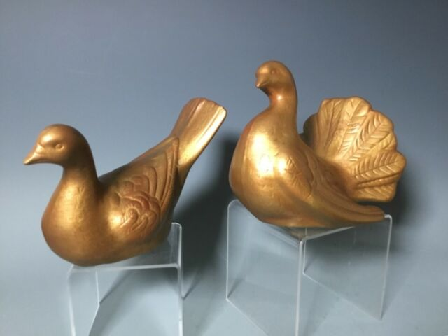 Vtg MCM Anthony Freeman McFarlin Gold Pair Doves Love Birds California Pottery