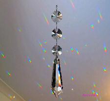 Sun Catcher Hanging Wand Crystal with 3 Swarovski octagons Rainbow Prism  Beads