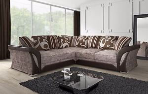 NEW-LARGE-SHANNON-CORNER-5-SEATER-BROWN-BEIGE-FABRIC-FAUX-LEATHER-SOFA-NEW