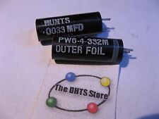 Hunts PW6-4-332 Capacitor .0033 uF 400VDC 0.0033 - NOS Qty 2