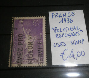 FRANCOBOLLI-STAMPS-FRANCIA-FRANCE-1936-034-POLITICAL-REFUGEES-034-USED-STAMP-CAT-A