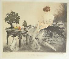 Louis ICART (1888-1950) Estampe Art Deco Le Jardin Japonaise 28x23,5 cm