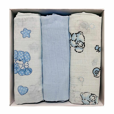 Set tris quadrati in garza di puro cotone i Batuffolini per neonato 3 pezzi 2664