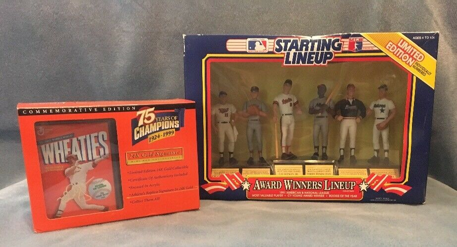 1991 Starting Lineup Award Winners Ripken Clemens Wheaties gold McGuire Lot