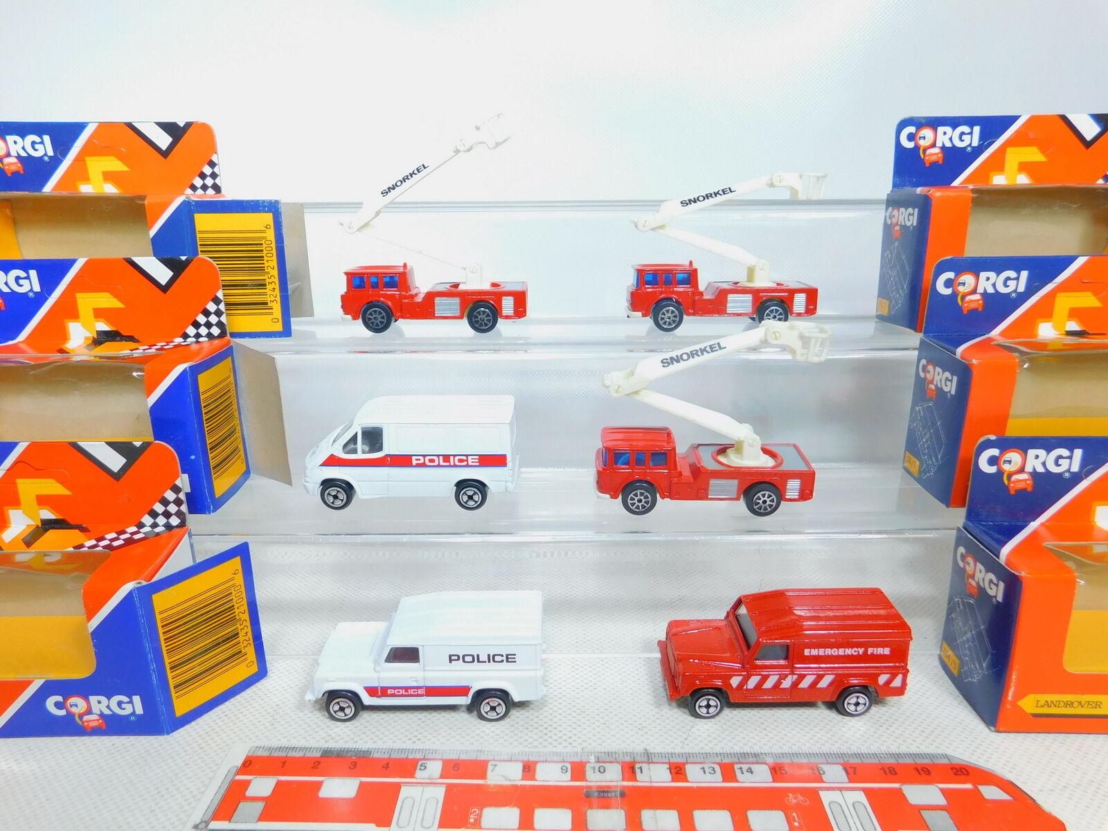 By331-1  6x CORGI pompier police-Modèle  Snorkel + LAND ROVER + TRANSIT, S.G.