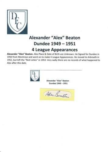 ALEX BEATON DUNDEE 19491951 VERY RARE ORIGINAL HAND SIGNED CUTTINGCARD