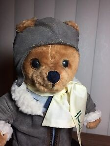 Harrods-Plush-12-034-Aviator-Bear-Non-Articulated-In-Bomber-Outfit-w-Logo-Scarf