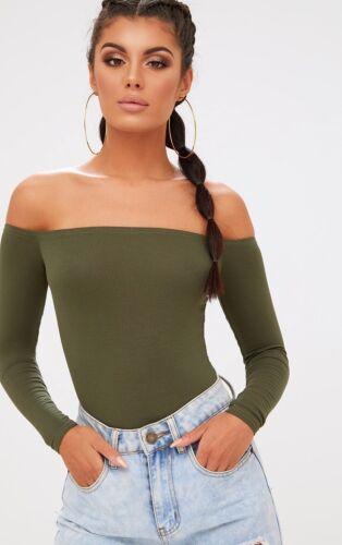 PLT Pretty Little Thing Khaki Basic Off The Shoulder Long Sleeve Bodysuit Size 6