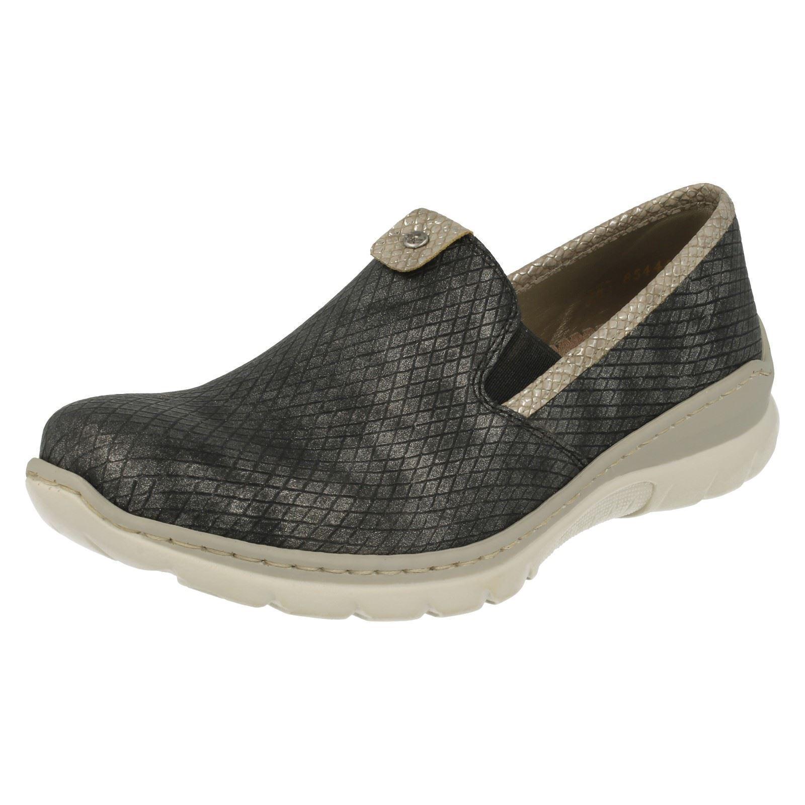 Damen Rieker L3272 MemoSoft grau Kombination Freizeit Slipper MemoSoft L3272 Schuhe 36e4d3