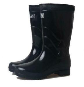 womens/men warterproof rain shoes black casual shiny low