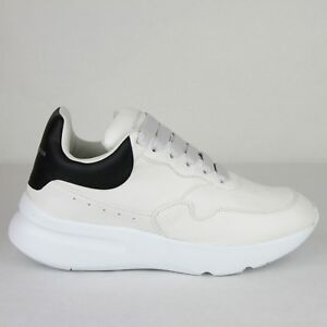 Details about $590 Alexander McQueen Men's White/Black Leather Platform  Sneakers 505033 9160