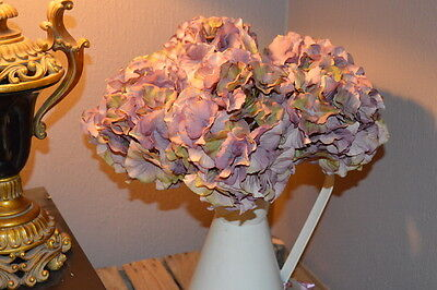 Bunch of 5 Large Vintage Purple Hydrangeas, Artificial Luxury Faux Silk Flowers