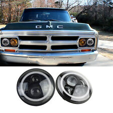"7"" Round Angel Eyes Halo LED Projector Headlight Set Classic Car Truck Chevy GMC"
