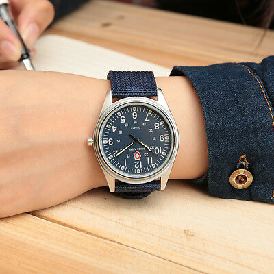 Unique Fabric Canvas Strap Solider Military Army Style Analog Quartz Wrist Watch