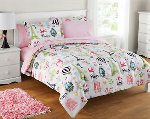 Details About Kids Comforter Set Paris Themed Bedding For S French Poodles Sheets Sham