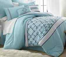 Ice Blue Comforter Set KING Bed With Embroidery Nautical 8 pc Bedding Blanket