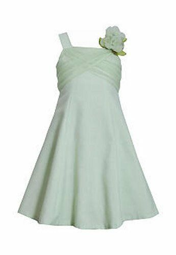 BONNIE JEAN® Girl/'s 12 Spring Green Crossover Bodice Linen Dress NWT