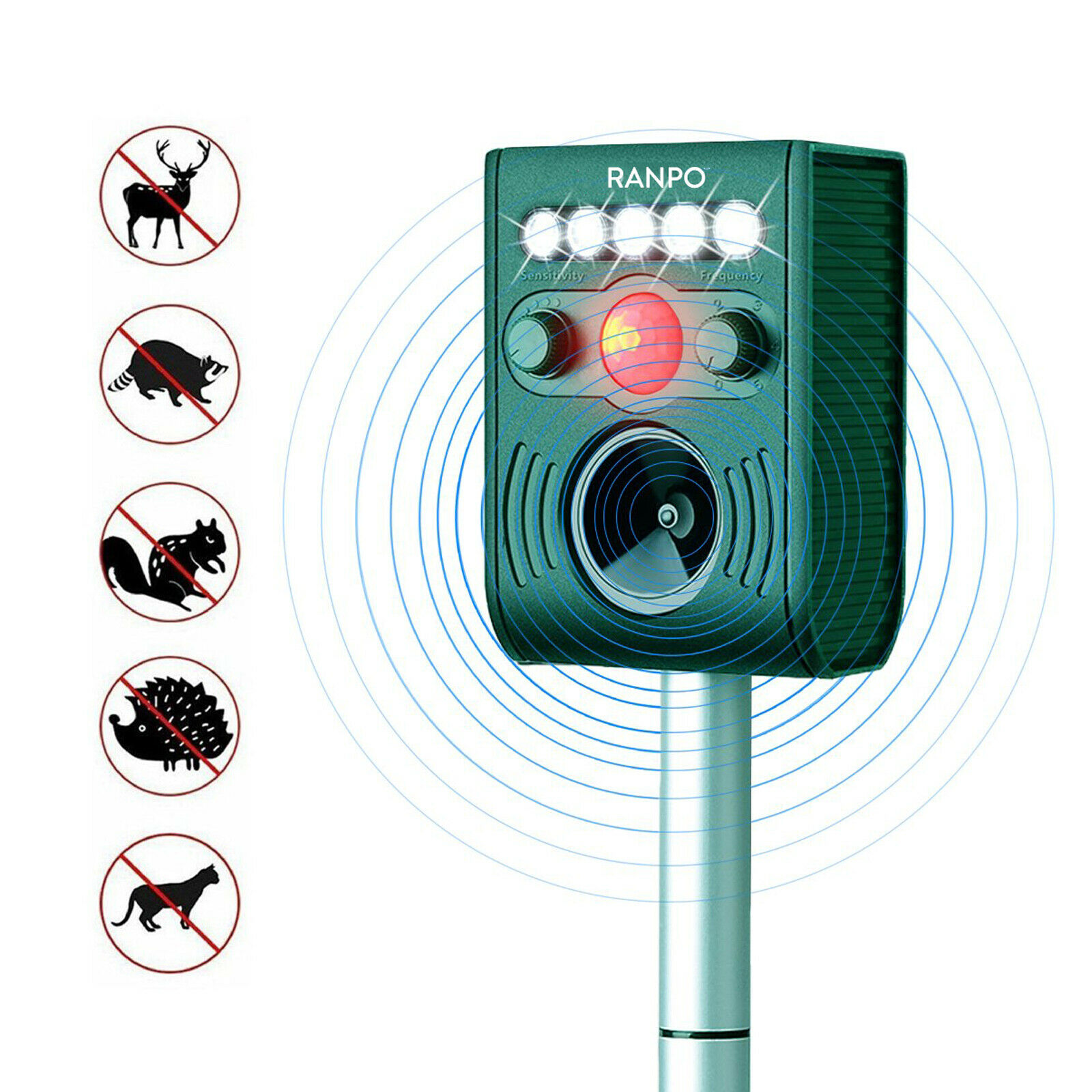 Garden Waterproof Pest Repellent Light Solar Powered Animal Ultrasonic Repeller