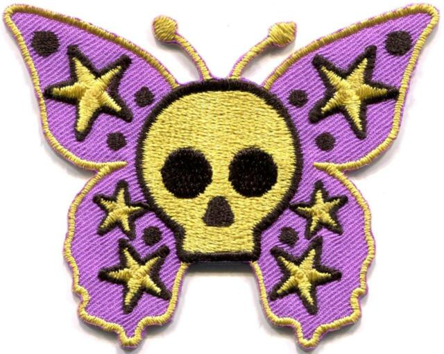 Butterfly skull goth hippie boho retro groovy applique iron-on patch new S-1128