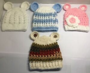 f4a0ed5922a Newborn Baby Hats With Ears Boys Girls Unisex White Pink Blue ...