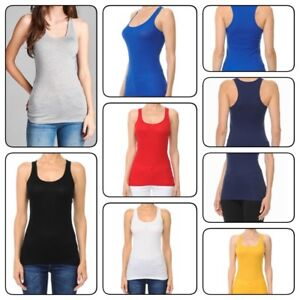 2a715a680508c 1XL-3XL PLUS SIZE Basic Casual Womans Stretchy Racerback Tank Top