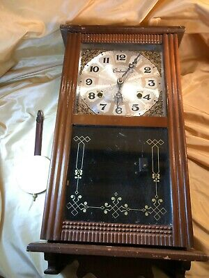 Centurion 35 Day Wooden Wall Clock Case Only Repair Are Parts W Pendulum Ebay