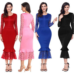 3fb8bee3fee Hollow out long sleeve lace ruffle bodycon midi dress party dance ...