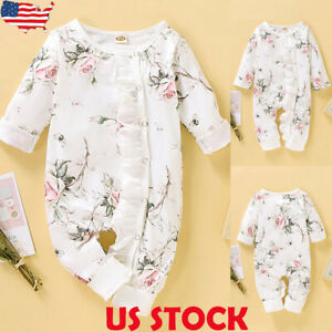 Newborn-Baby-Girl-039-s-Floral-Romper-Jumpsuit-Bodysuit-Playsuits-Clothes-Outfits-US