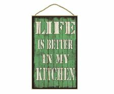 """Light Green Life Is Better In My Kitchen Sign Plaque 10""""X16"""""""