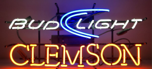 BUD LIGHT CLEMSON Traditional Vintage Glass Neon Sign (not LED Neon) .... SALE