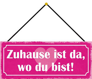 At Home - As Where Du Bist Shield with Cord Arched Tin Sign 10 X 27 CM K0782-K