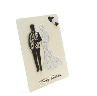 BRIDE AND GROOM WEDDING DAY/EVENING INVITATIONS - BLACK & WHITE