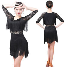 JS CHOW Womens Black Red Tassels Ballroom Latin Tango Salsa Practice Performance Dance Pants Black, M
