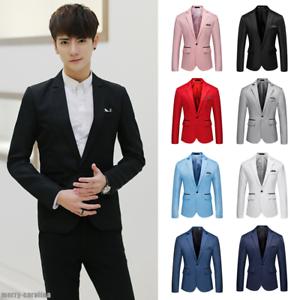 3199586fe8 Business Men's Slim Fit One Button Suit Blazer Wedding Party Coat ...