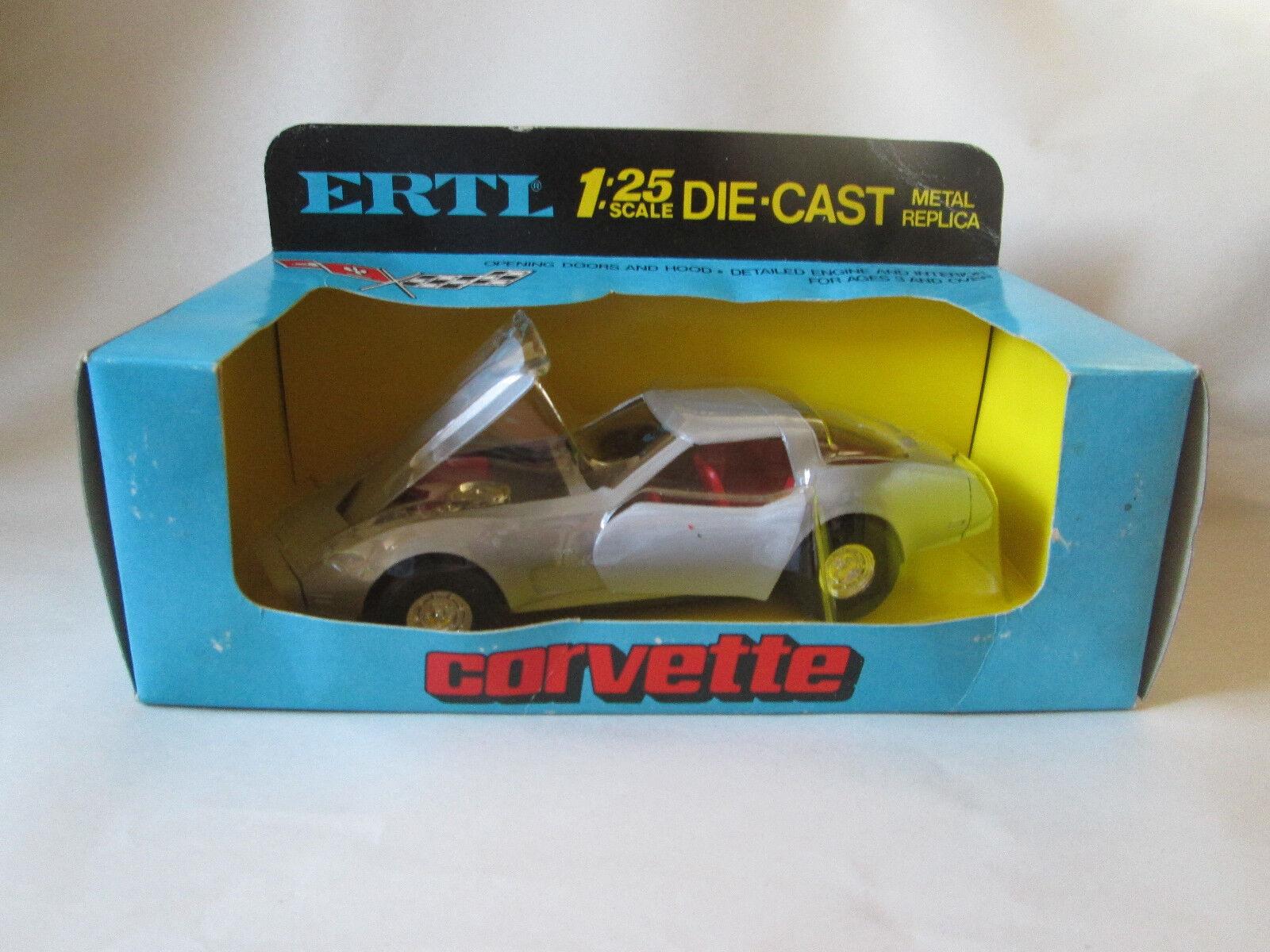Ertl Chevrolet Chevrolet Chevrolet Corvette Stingris 1970 Coche Deportivo 1 25 Plata Replica  1676 Hong Kong 6456d2