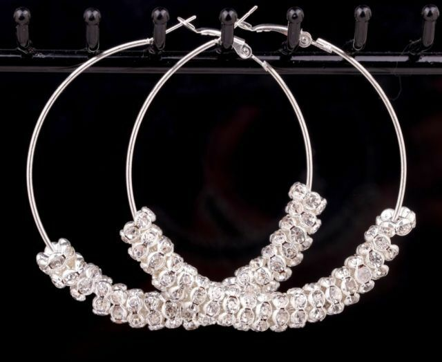 1 Pair Fashion Jewelry Shiny Crystal Rhinestone Bead Charms Large Hoop Earrings