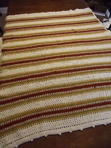 EARTH-TONE-Crochet-Afghan-GRANNY-Handmade-Vintage-Throw-Blanket-56-034-x42-034-STRIPED