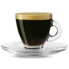 Set of 2 Espresso Cups & Set of 2 Saucers 80ml Hot Glass Cafe Coffee Macchiato