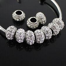 5pcs Clear Czech Crystal Big Hole Spacer Charm Beads 12mm Fit European Bracelet