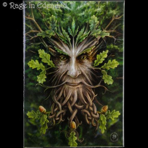 *OAK KING* Fantasy Green Man Art Fridge Magnet By Anne Stokes (8x5.5cm)