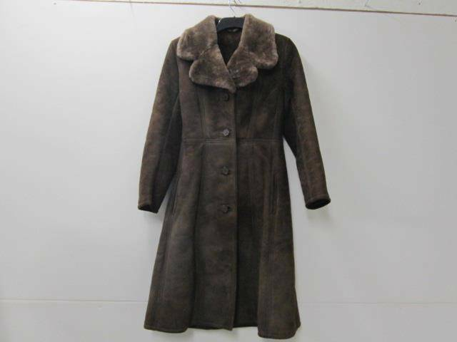 WOMENS Richard draper SHEEPSKIN COAT DARK BROWN 12 34 CHEST VGC SKU NO S936