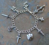 Knight's Charm Bracelet - Fantasy Charms - Castle, Dragon, Sword, Crown, Shield