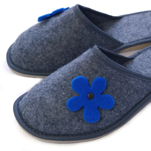 Ladies Women/'s Girls Grey Blue Mule Home Bed Guest Travel Slippers  Size/' 3-8