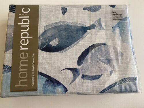 Home Republic Adriatic Sea Azure King Quilt Cover Set BNIP RRP $169.00