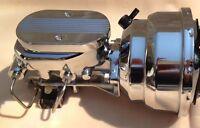 55 56 57 Chevrolet Chrome 7 Power Brake Booster Aluminum Master Cyl Disc Drum