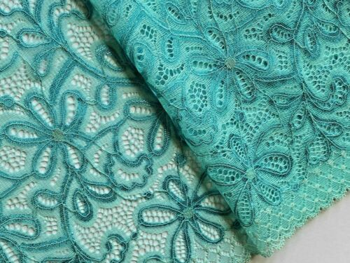 "Laverslace-Azul Turquesa Verde Ancho De Tul Ribete de Encaje Floral Con Cable 9/""//23cm"