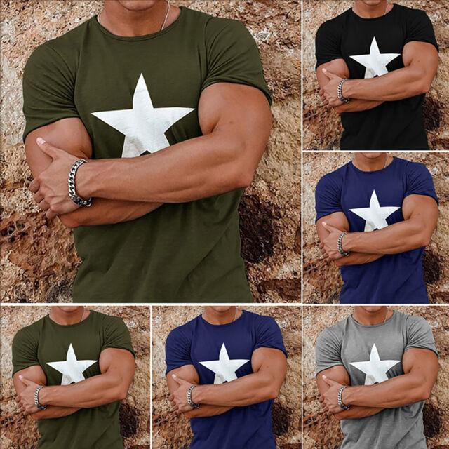 Mens Soft Star Sports Tee Gym Tops Short Sleeve T-Shirts Summer Muscle Fit Shirt