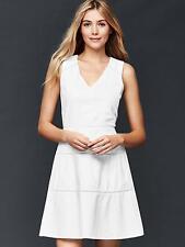 NWT Gap Linen V-neck fit & flare dress, White SIZE 18    #180613 v