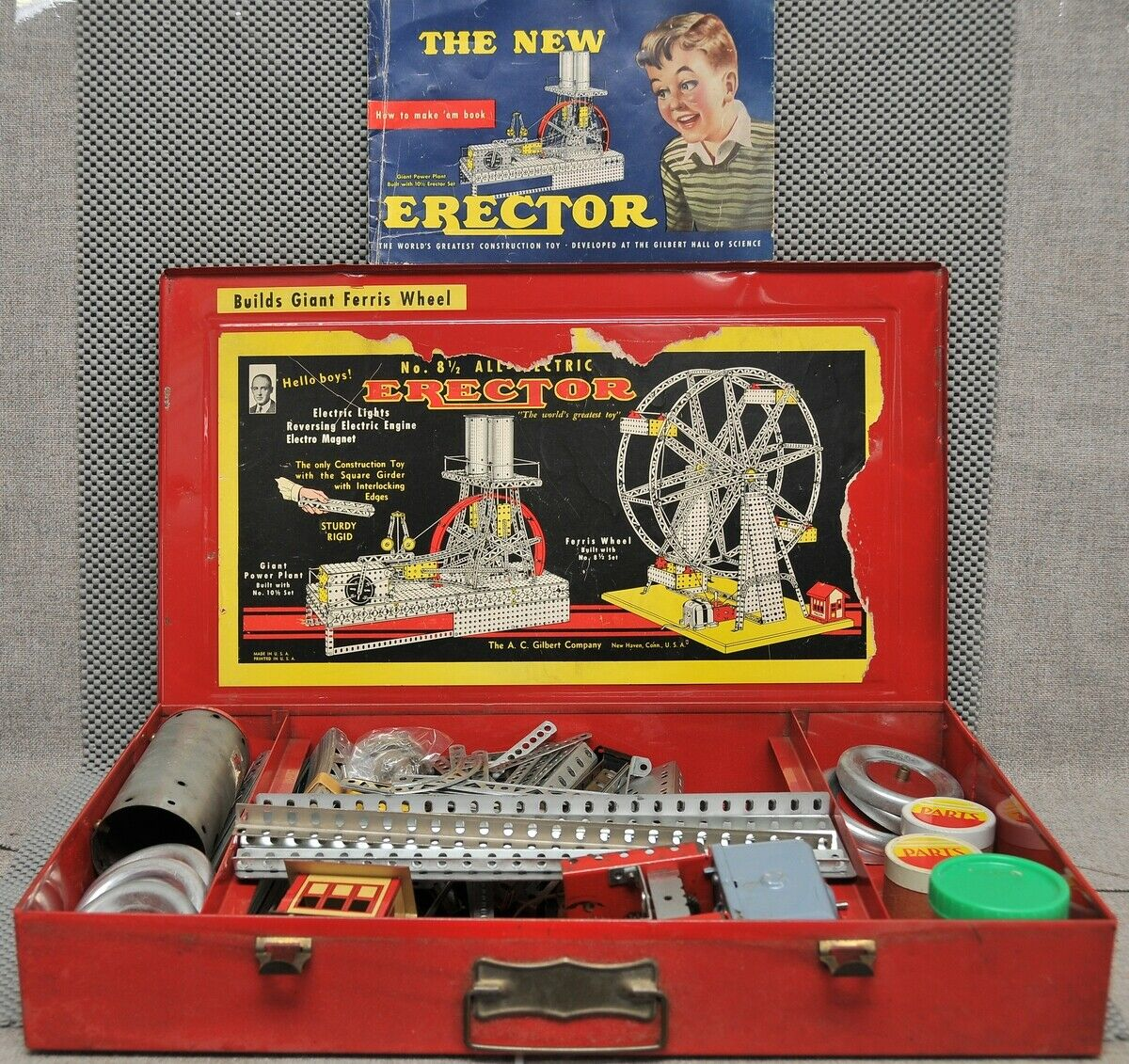 Gilbert No. 8 1 2 All-Electric Erector set in original box to build Ferris Wheel